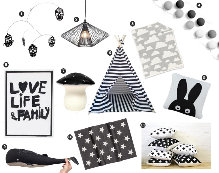 Monochrome Nursery Wishlist, black and white products for the baby and children. Mexican skull mobile, modernlight fitting, teepee, mono print, lamp, stars and crosses blankets and cushions