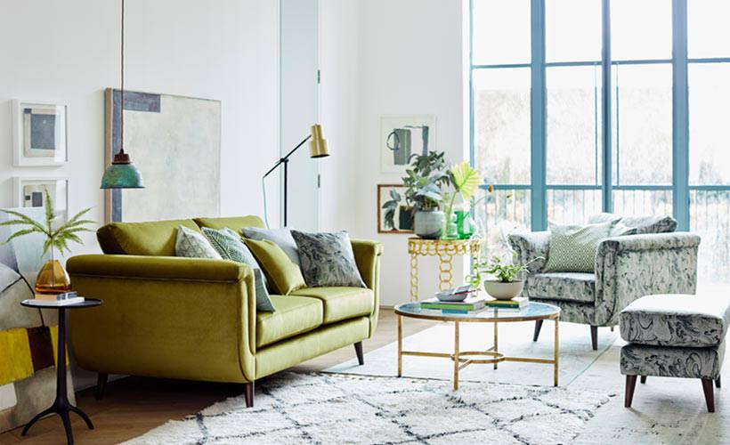 DFS Topaz Lime Velvet sofa