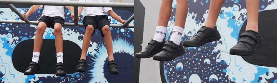 Aqua Warrior Black Leather School shoes