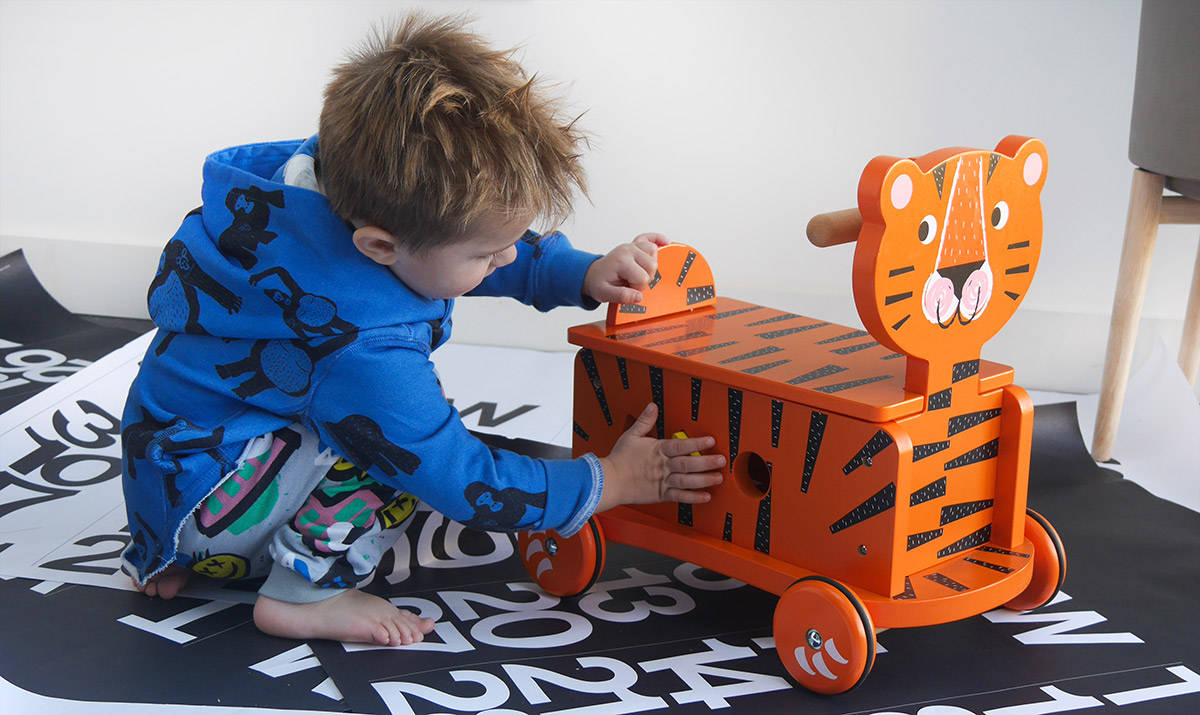 Wooden Ride On Tiger Toy